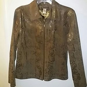 Chico's Brown Snakeskin Leather Jacket Small